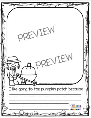 pumpkin patch writing prompt kindergarten