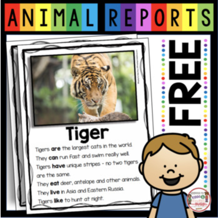 free animal report for first grade
