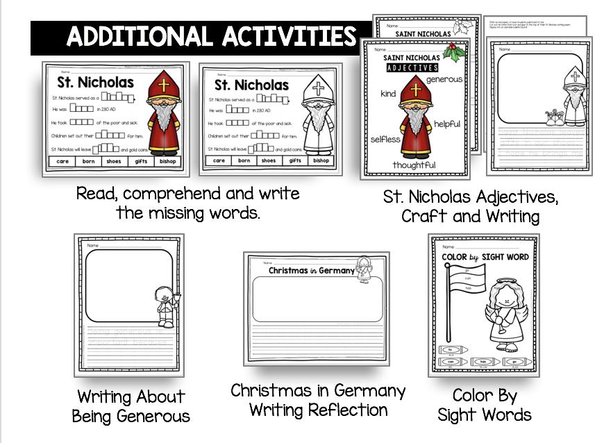 der nikolous saint nicholas printables activities worksheets free