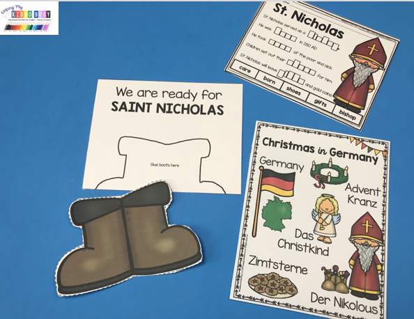 saint Nicholas craft boots treat in shoes free printables activities