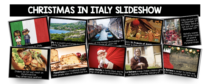 Christmas in Italy kids activities printables slideshow