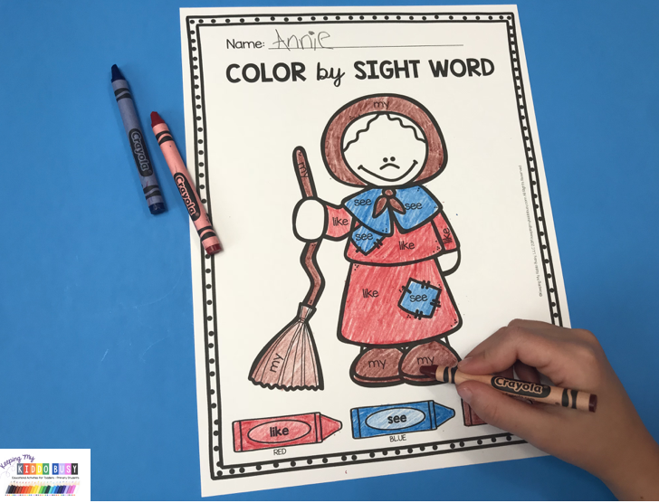 sight word coloring pages free