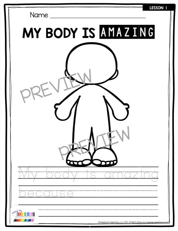 amazing human body printable activity worksheet pre-k preschool