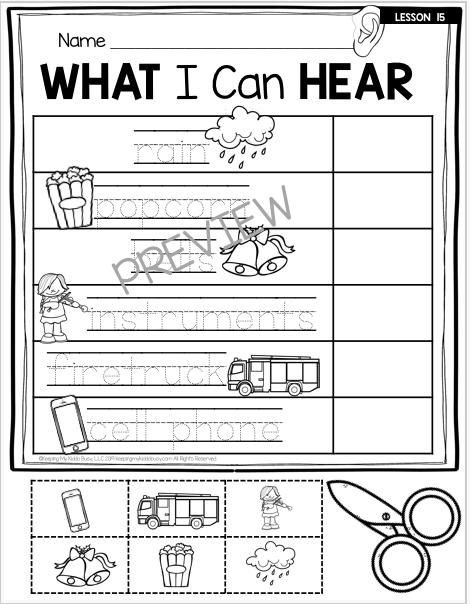 sense of sounds worksheet preschool