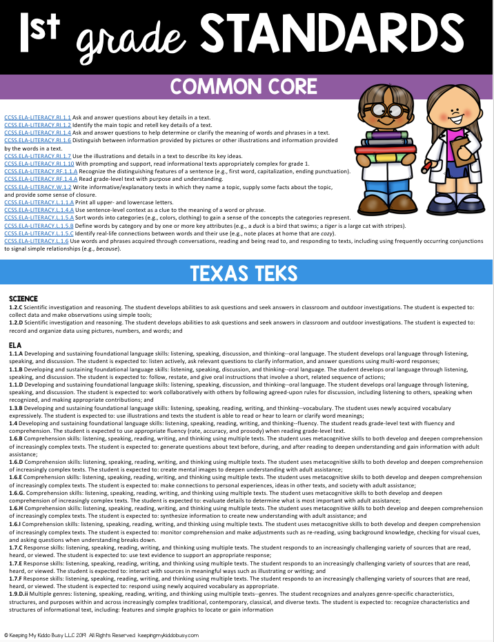 first grade science standards free lesson plans