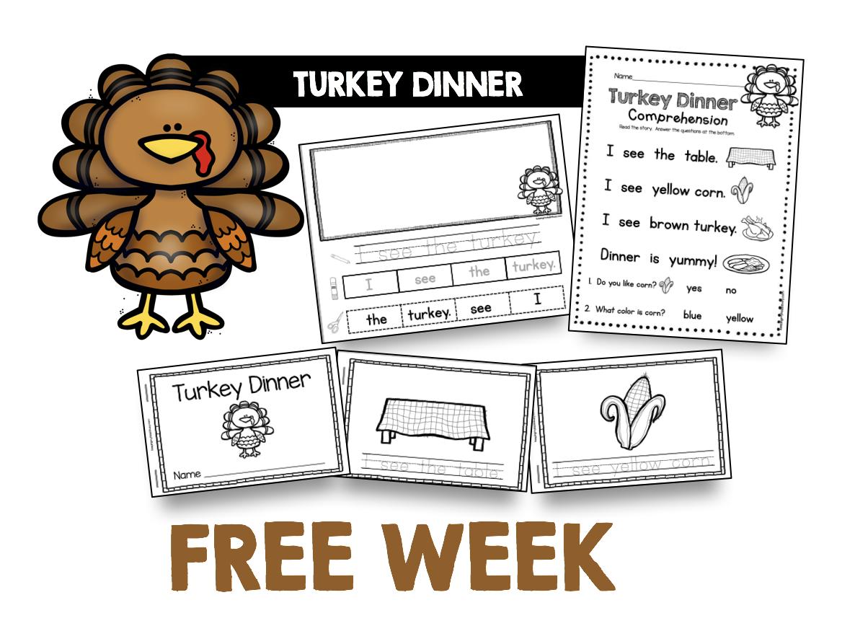 free turkey book reading passage kindergarten