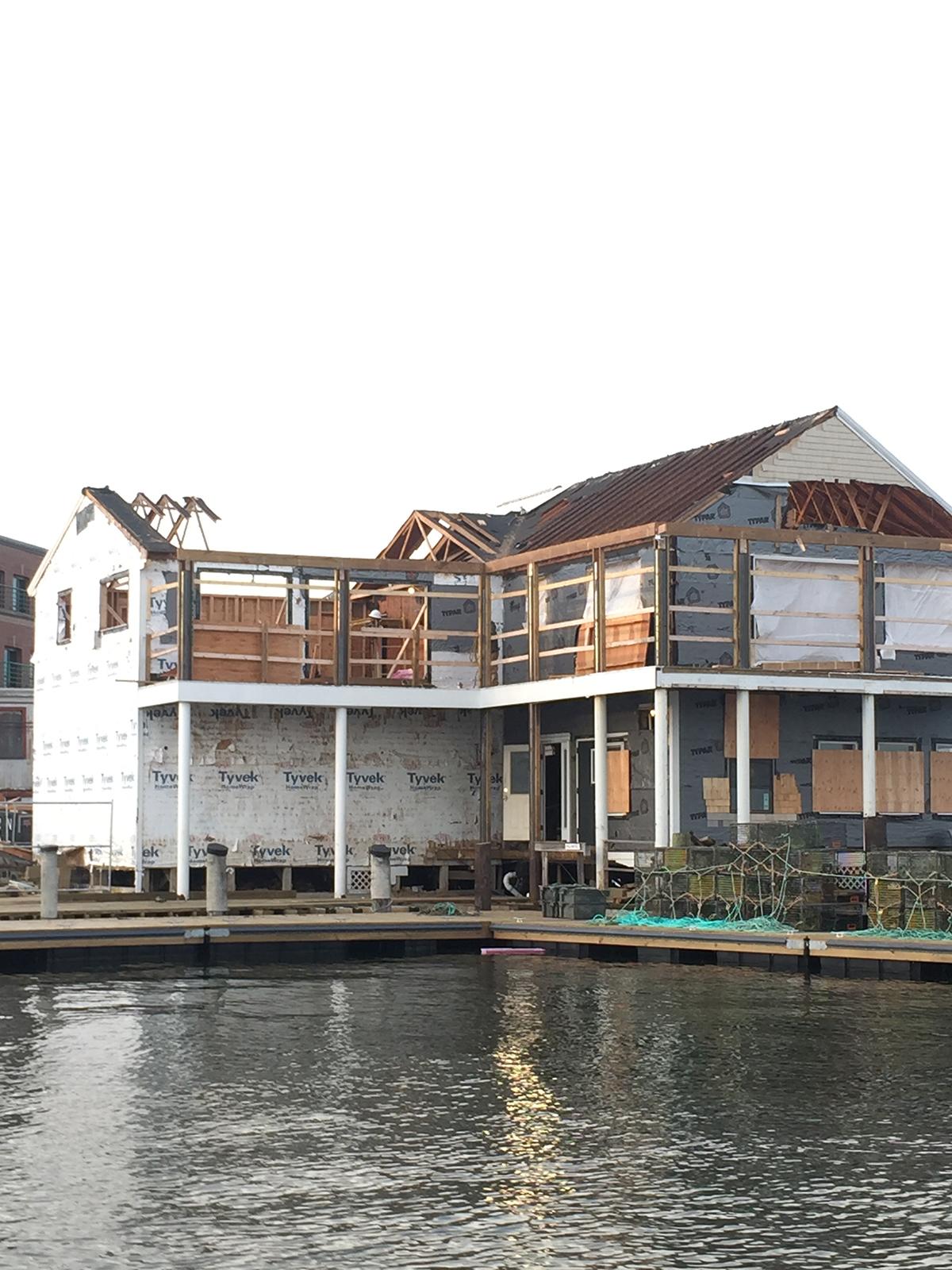 Luke's on Portland Pier under construction.