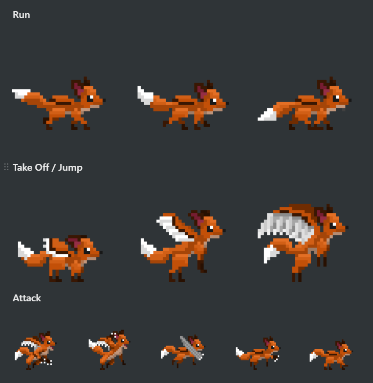 Basic animations for Albert the Foxraven