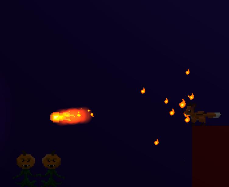 Albert shooting his first fireball.