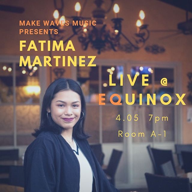 Fatima Martinez will be performing at our upcoming event, EQUINOX!! Come out and support at 7pm in A-1 April 5! (swipe for a message from Fatima)