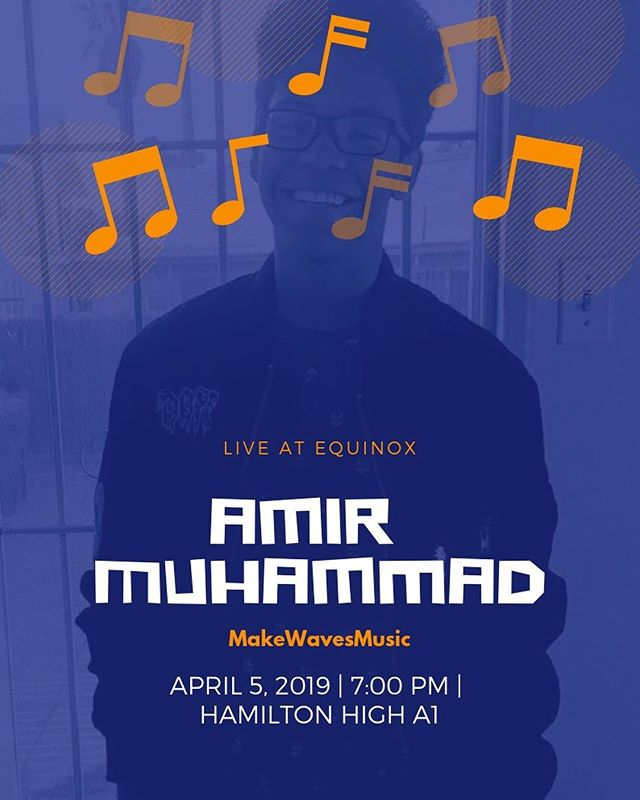 Amir Muhammad will be performing at our upcoming event, EQUINOX!! Come out and support at 7pm in room A-1 April 5! (swipe for a message from Amir)