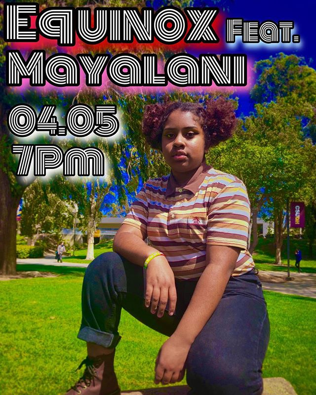 Mayalani will be performing at our upcoming event, EQUINOX!! Come out and support at 7pm in Room A-1 April 5! (swipe for a message from Mayalani)