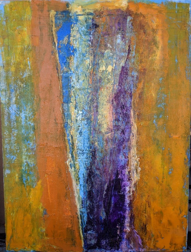 "Telluride abstract painter Margaret Rinkevich:  Portal #5  acrylic on canvas 40x30"" $2000"