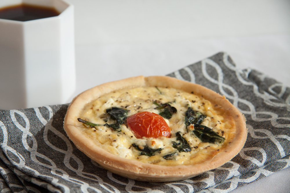 Smoked Salmon Quiche, with spinach and goat cheese