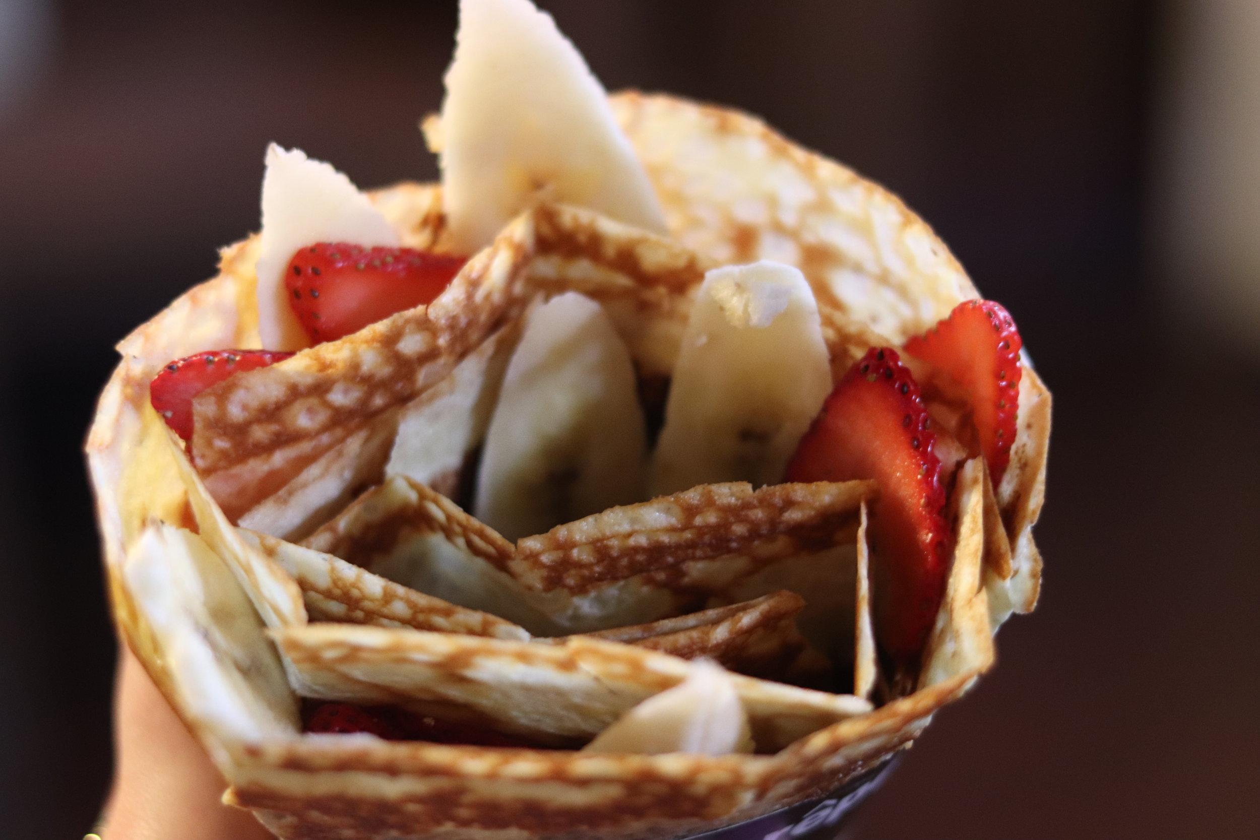 Strawberry banana nutella crepe