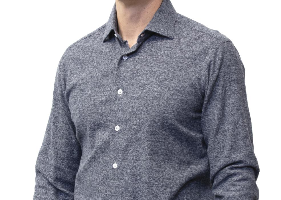 Solid blue shirt cashmere cotton blend