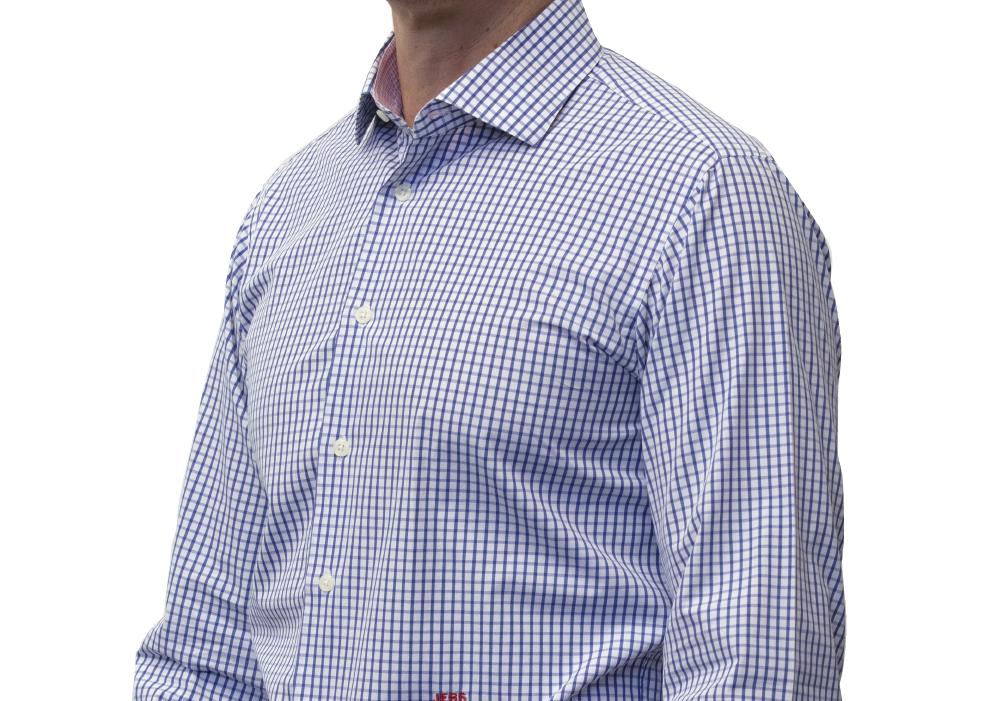Blue check shirt 140s count cotton