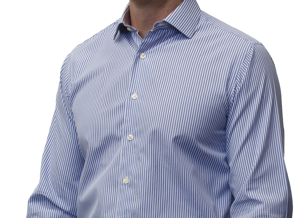 Blue striped shirt 140s 2ply cotton