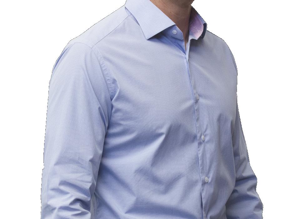 Blue check shirt 160s cotton
