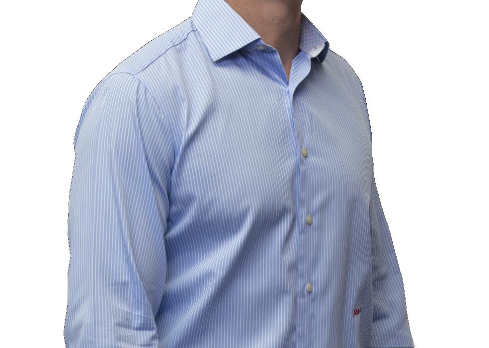 Blue stripe shirt 140s 2 ply cotton
