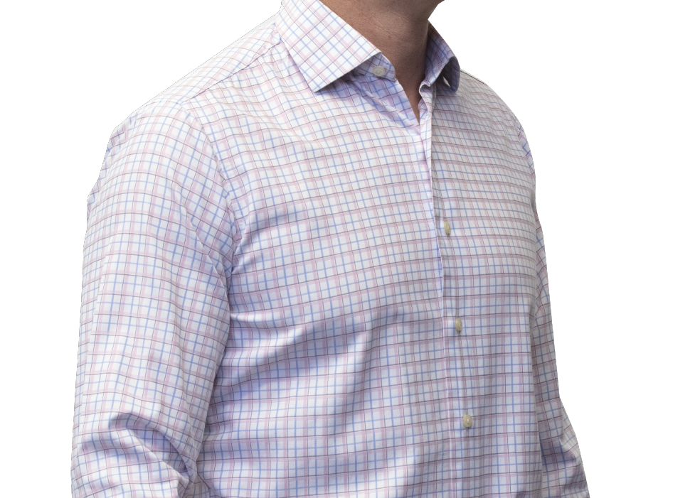 Blue pink check shirt 120s 2 ply cotton