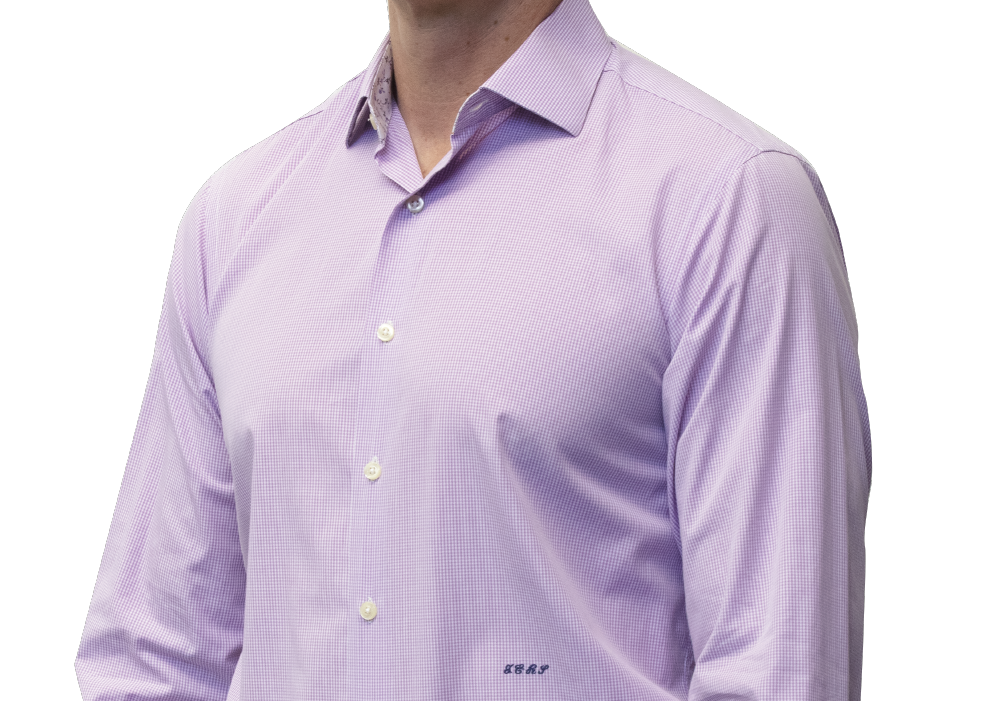 Lavender check shirt 160s 2 ply cotton