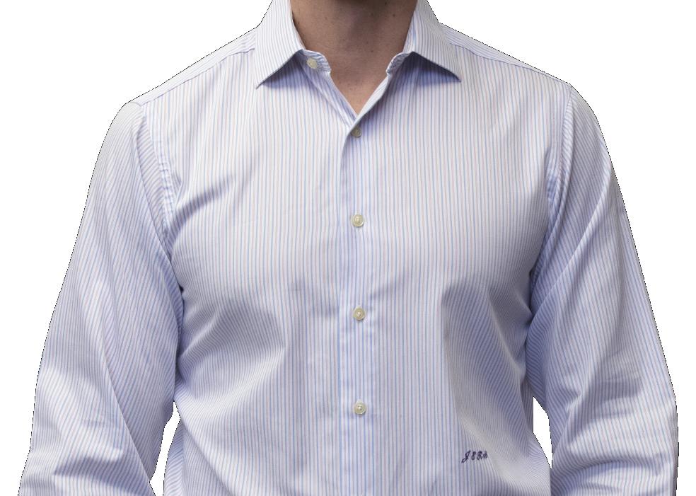 Blue lavender stripe shirt 140s 2 ply cotton