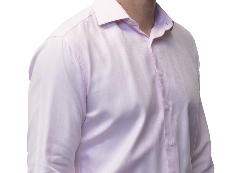 Pink herringbone shirt 120s 2 ply cotton
