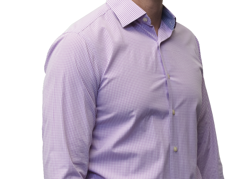 Lavender check shirt 140s 2 ply cotton
