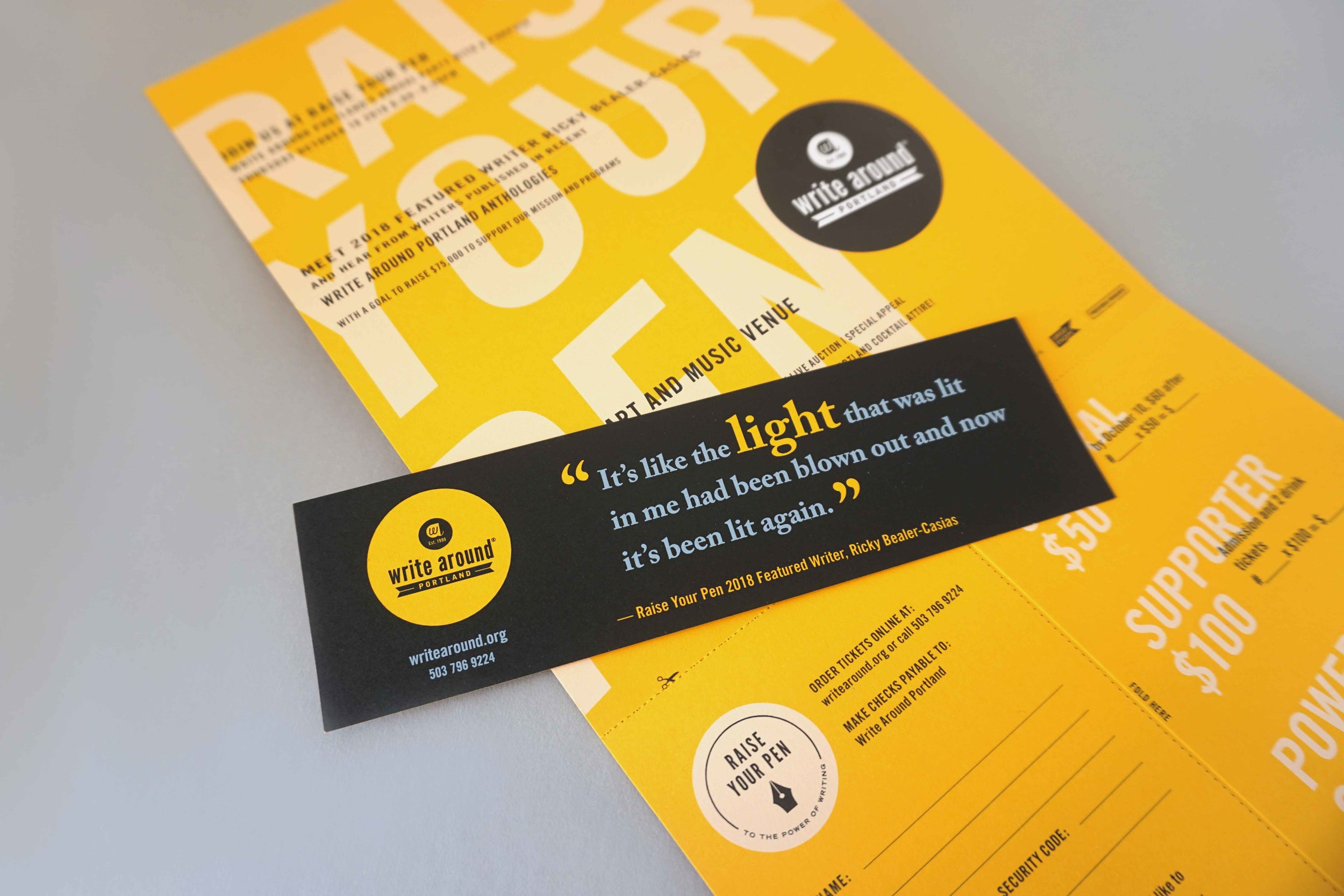 Each invitation also included a bookmark highlighting a quote from the event's featured speaker.