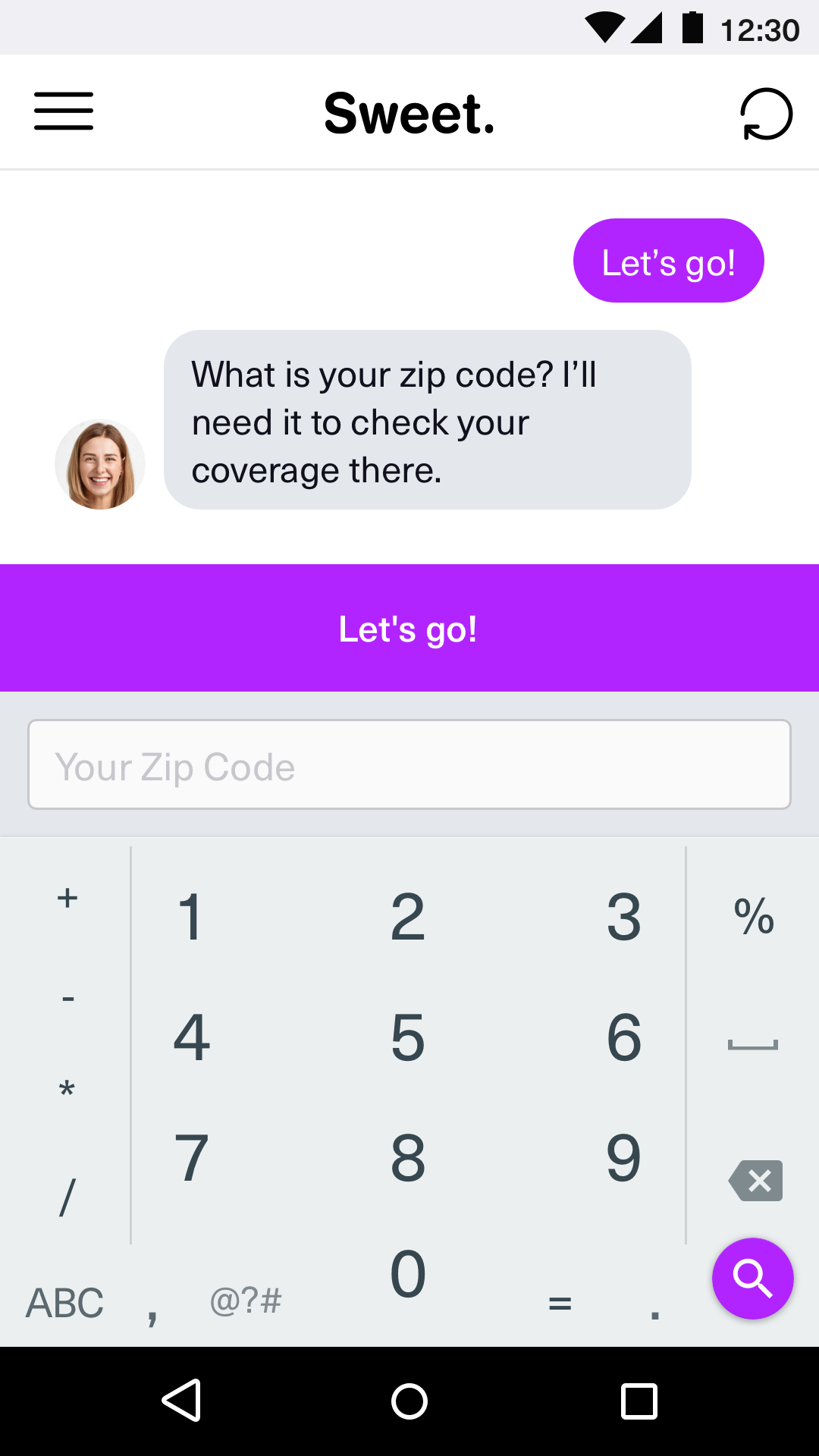 Chat -Zip Entry + Keypad