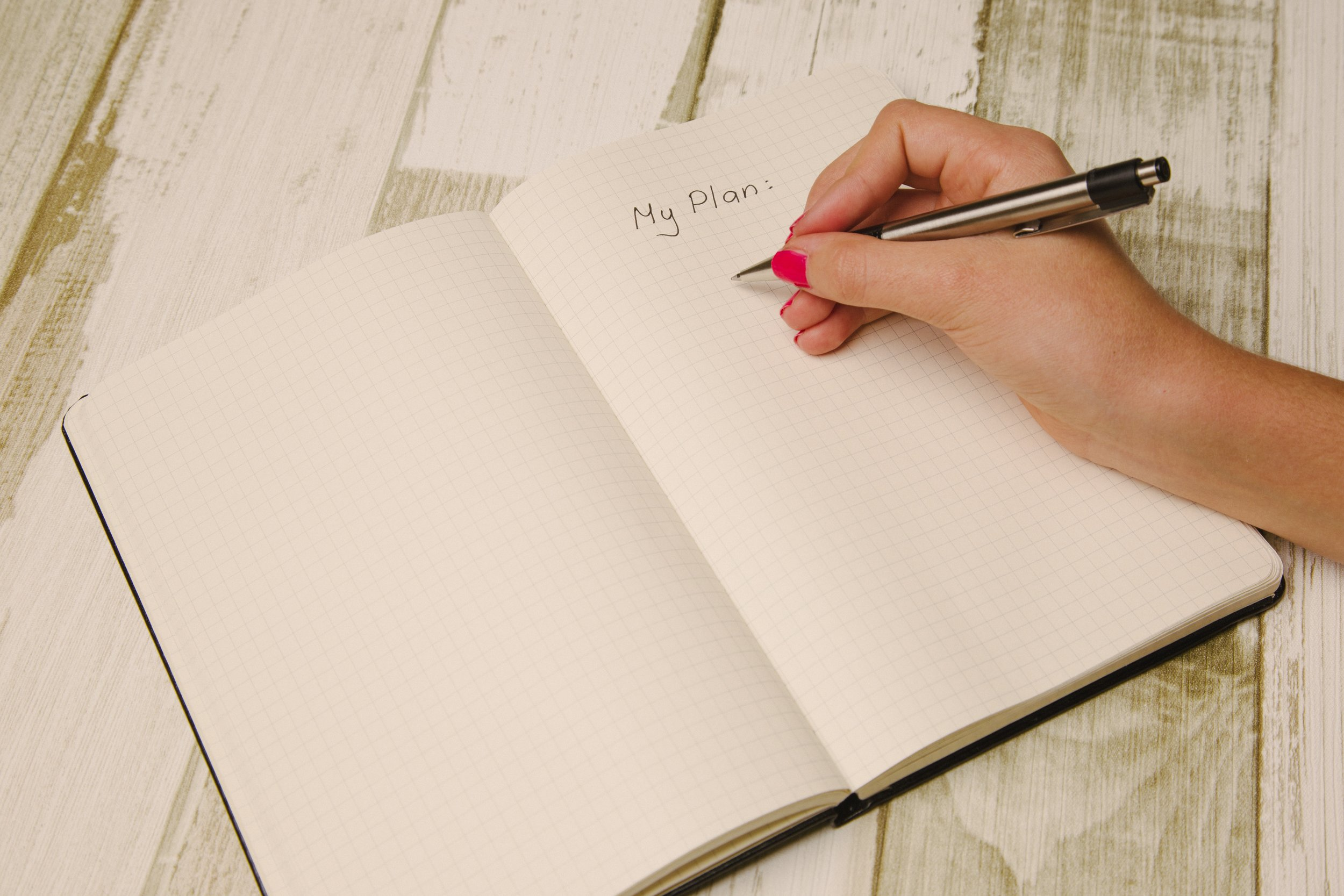 Write down your goals, and the action steps for how to achieve them.