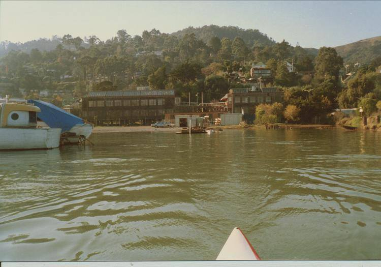 1986 - 1987 - OWR temporary home - foot of Napa Street., Sausalito. Pre-fab shed for boats;, trailer for office - location shared with Sea Trek.