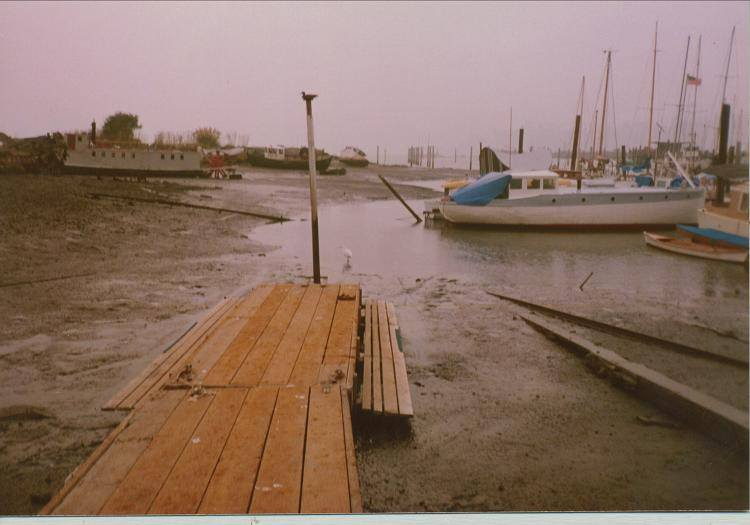"1986 - 1987 - No dredging at Napa Street kept OWR off the water at very low tides - referred to as ""High Duck"". (Note decoy nailed to top of pole at end of dock.) Rowers of course preferred Low Duck."