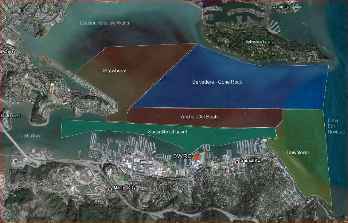 Many popular routes in Richardson Bay will traverse several of the zones.