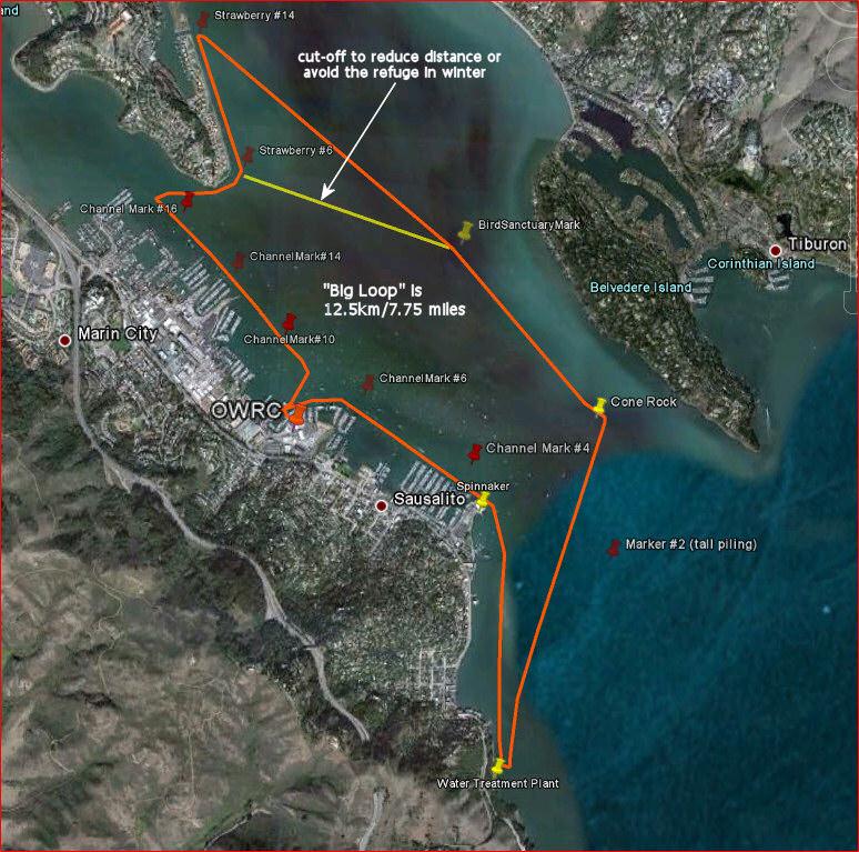 Richardson Bay 'big loop' - click to enlarge map.