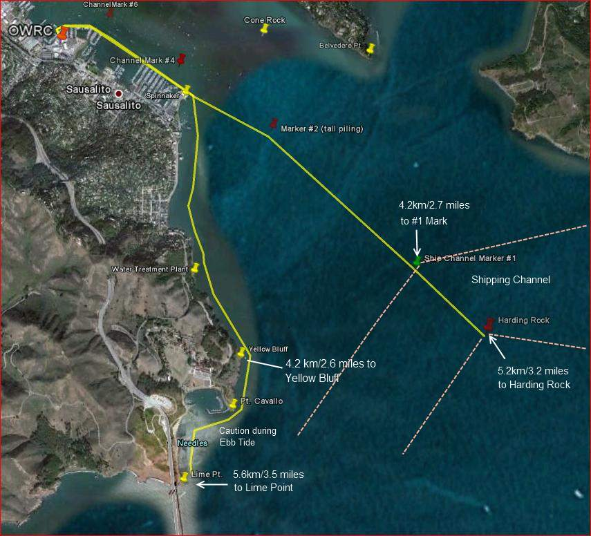 A row to Yellow Bluff and back covers 8.4 kilometers/5.2 miles/4.5 nm.