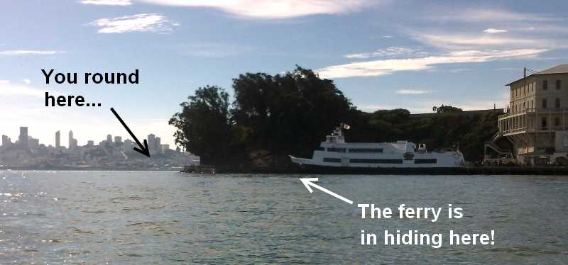 Watch for the ferry at Alcatraz (click for full size)