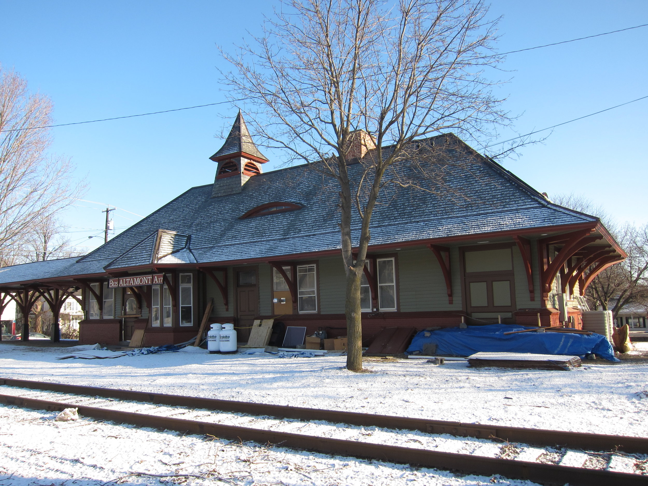 Altamont station on February 19, 2012. It was being renovated at the time, and they even added a new (replica) station sign. Photo by Rudy Garbely.