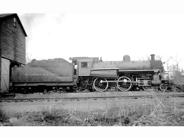 D&H 447 TYPE:  4-4-0  CLASS:  G-5  DATE:  1946  LOCATION:  Saratoga Springs, NY  NOTES:  At engine facility.  PHOTOGRAPHER:  Jim Wright