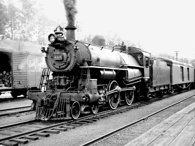 D&H 449 TYPE:  4-4-0  CLASS:  G-5  DATE:  6/1/47  LOCATION:  Corinth, NY  NOTES:  With northbound local to North Creek.  PHOTOGRAPHER:  Jim Wright