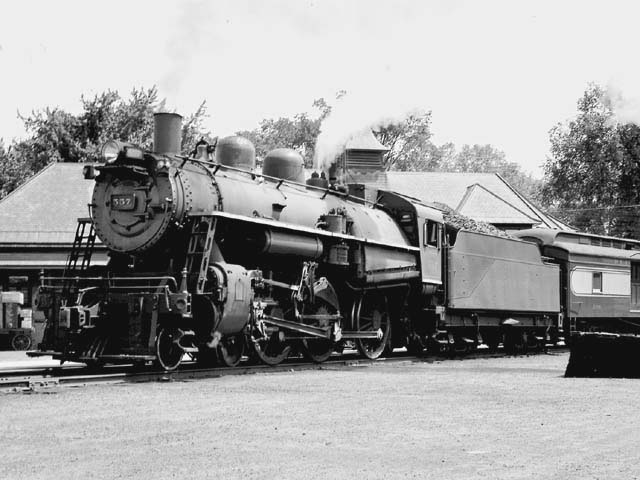 D&H 557 TYPE:  4-6-0  CLASS:  D-3b  DATE:  8/1/47  LOCATION:  Fort Edward, NY  NOTES:  Ready to depart for Lake George.  PHOTOGRAPHER:  Jim Wright