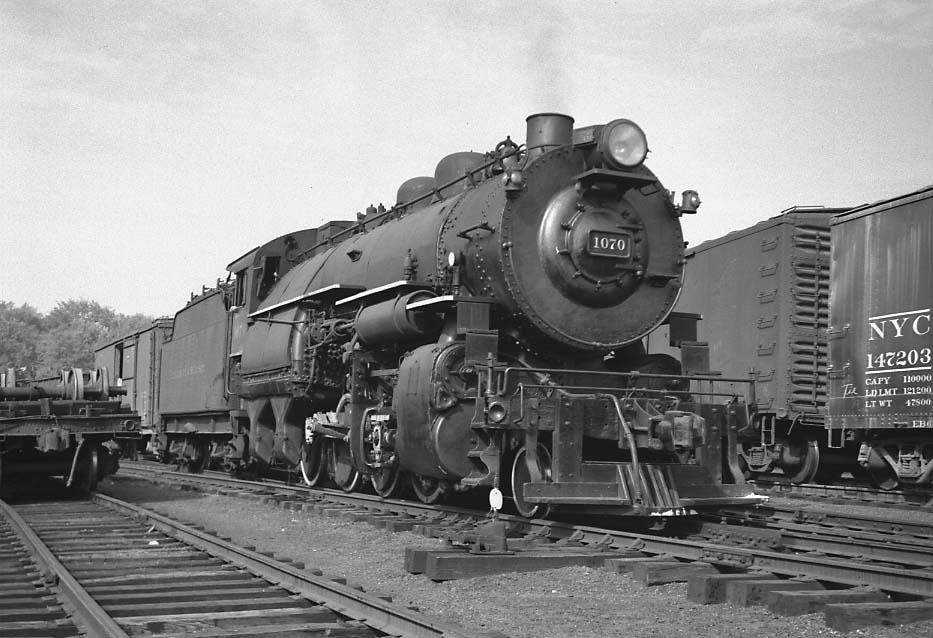 D&H 1070 TYPE:  2-8-0  CLASS:  E-5  DATE:  7/1/47  LOCATION:  Port Henry, NY  NOTES:  With southbound freight.  PHOTOGRAPHER:  Jim Wright