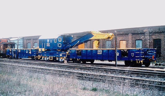 D&H 30021  Making a change from the usual all black wreck cranes, the D&H 30021 looks resplendent in its blue and yellow scheme. At Oneonta, NY in April 1989.  Reproduced from a Bill Mischler slide, used by permission.