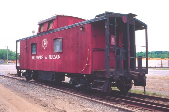 D&H 35706  Notice the strange circular herald on this caboose and the lack of any number on the side. Port of Albany, NY approximately 2001.  Photo by Chris Shepherd.