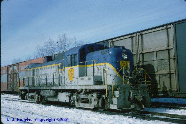 D&H 4085  In Lightning Stripe at Mechanicville in March, 1977.  Kevin J. Endriss photo.