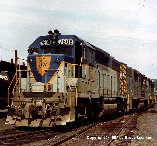 D&H 7608  Unit #7608 is shown in Beiver St. Yard in 1977, leading GP39-2 7411 still in the Reading Colors.  Photograph by Bruce Leemann