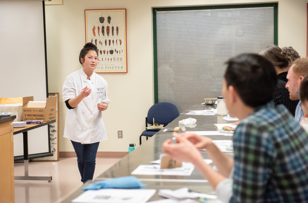 Halle Choi of the Sustainable Seed Systems Lab teaching Whole Grain Novel Flours: Quinoa at the 2019 Cascadia Grains Conference
