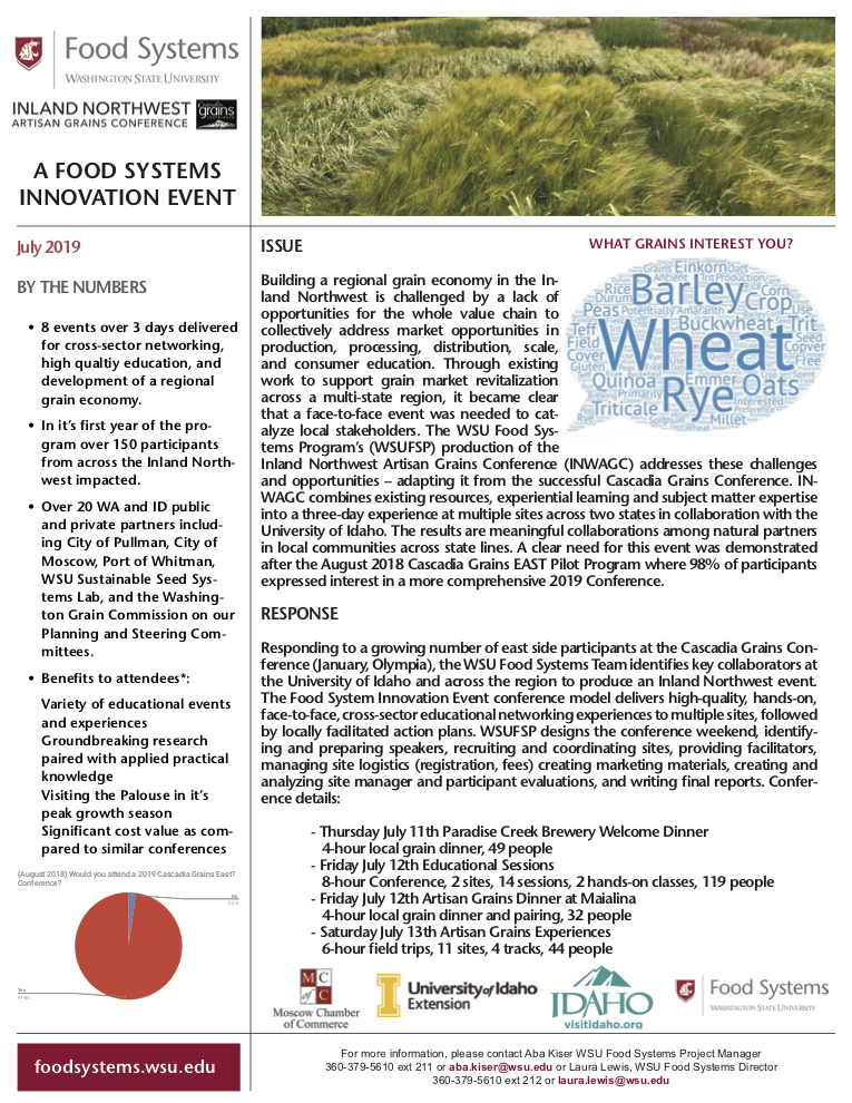 Read our Impact Report - INLAND NORTHWEST ARTISAN GRAINS CONFERENCE JULY 12TH & 13TH, 2019