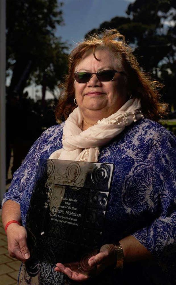 Kaelene McMillan with her 2018 NAIDOC Person of the Year Award for the Port Augusta region
